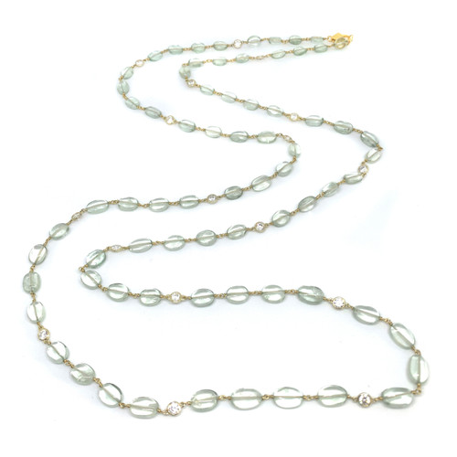Tumbled Green Amethyst Long Vermeil Necklace