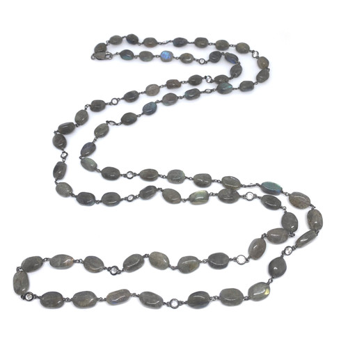 Tumbled Labradorite Long Gunmetal Necklace