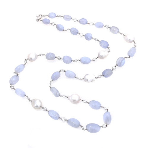Tumbled Blue Chalcedony and Cultured Baroque Pearl Long Necklace