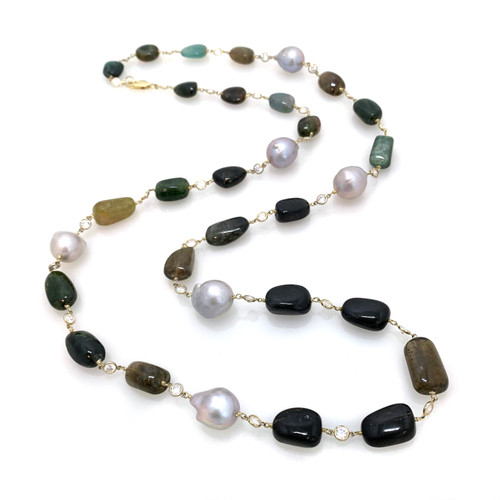 Tumbled Green Tourmaline and Cultured Grey Baroque Pearl Long Vermeil Necklace