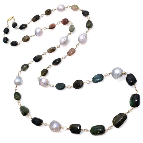 Tumbled Green Tourmaline and Cultured Grey Baroque Pearl Extra Long Vermeil Necklace