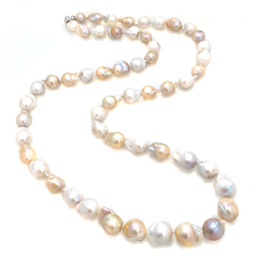 White and Peach Baroque Pearl Long Necklace