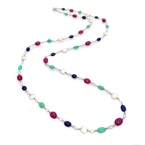 Emerald Ruby Sapphire and Round Bead Long Necklace