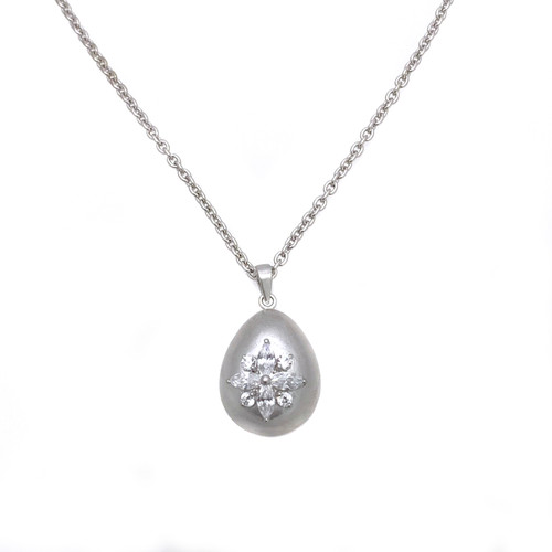 Marquis Flower Egg Shape Pendant Necklace