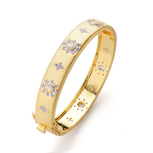 Flower-pattern Vermeil Narrow Bangle Bracelet