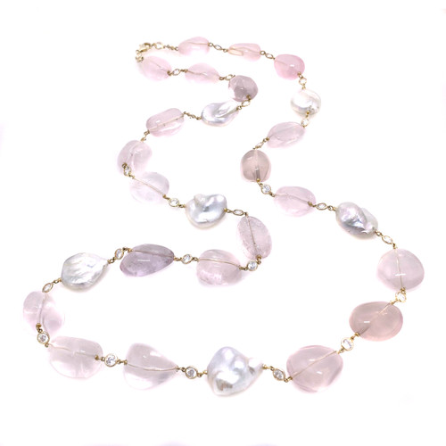 Tumbled Rose Quartz and Large Keishi Pearl Long Vermeil Necklace