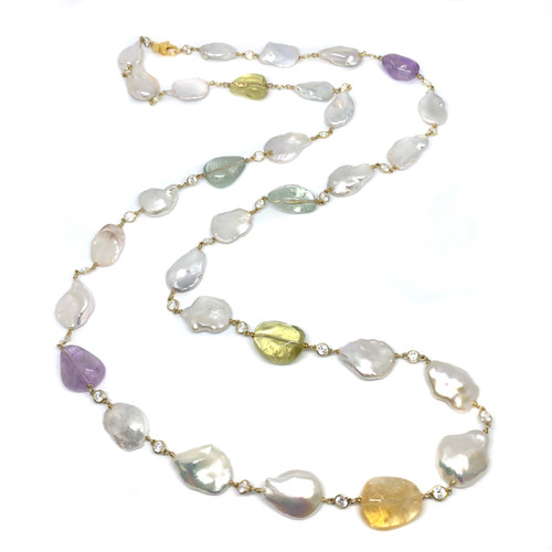 Large Keishi Pearl and Tumbled Multicolor Gemstone Long Vermeil Necklace