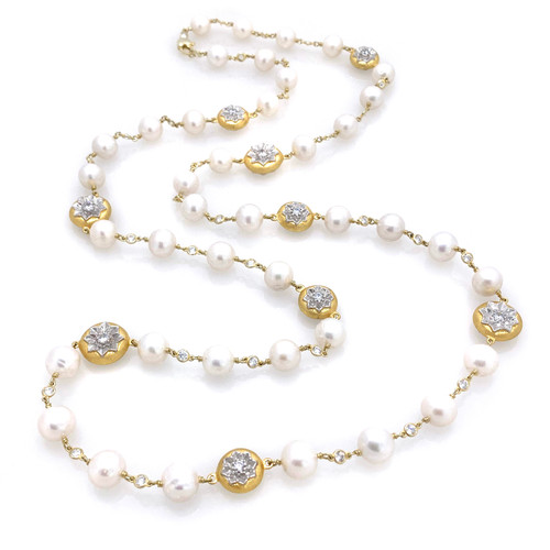 Freshwater Pearl and Round Engraved Flower Vermeil Disc Long Necklace