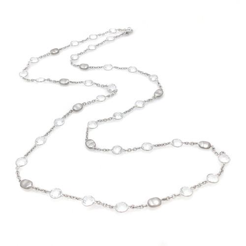 Bezel-set Round White Topaz Long Station Necklace
