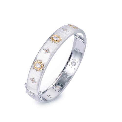 Flower-pattern Two-tone Narrow Bangle Bracelet