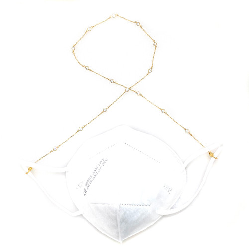 Face Mask Chain - Faux Diamond By The Yard Vermeil
