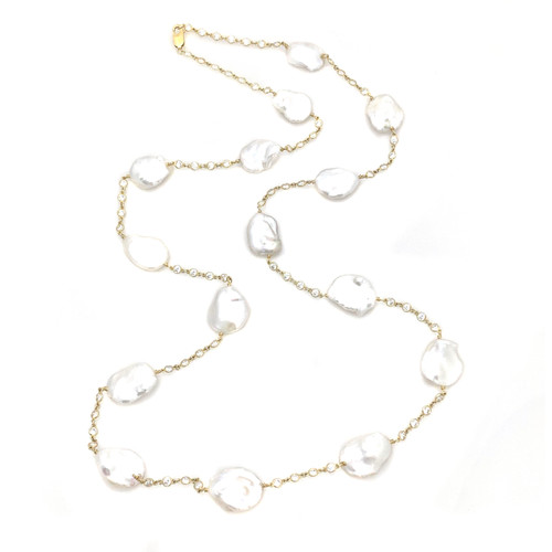 Keishi Pearl Long Station Vermeil Necklace