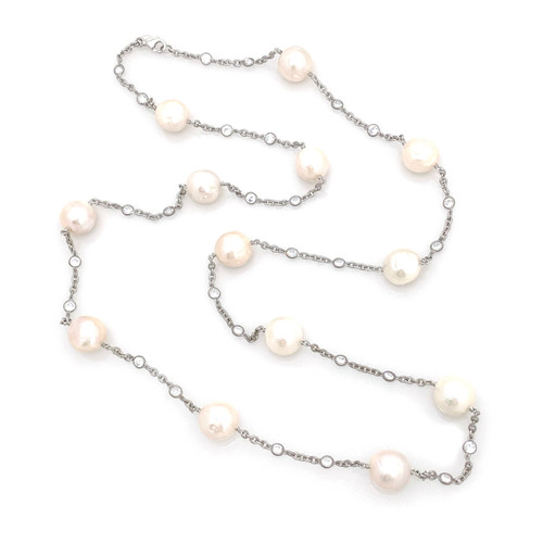 Cultured Baroque Pearl Long Station Necklace