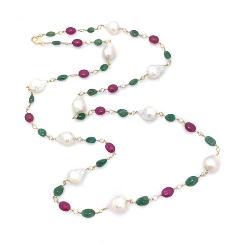 Ruby Emerald and Cultured Pearl Long Necklace