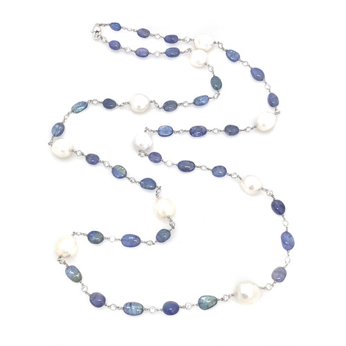 Tanzanite and Cultured Pearl Long Necklace