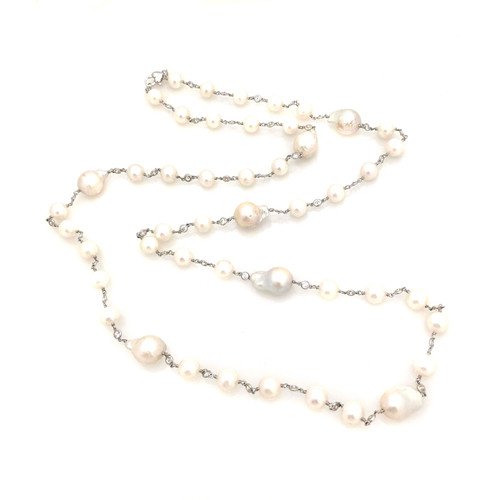 Cultured Pearl and Baroque Pearl Long Necklace