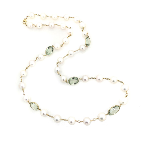 Cultured Pearl and Green Amethyst Long Necklace