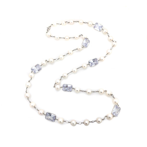 Cultured Pearl and Octagon CZ Long Necklace