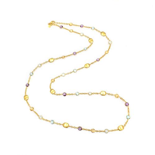 Bezel-set Round Multi-color Gemstone Long Station Necklace