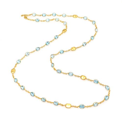 Bezel-set Oval Blue Topaz Long Station Necklace