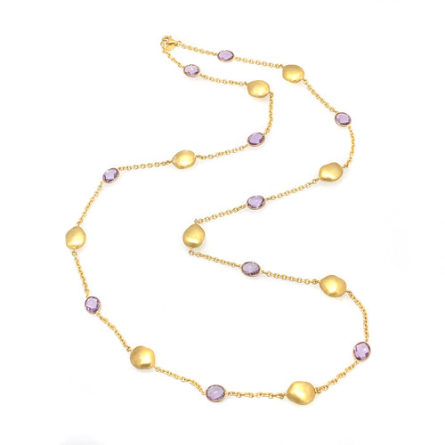 Nugget and Oval Amethyst Long Station Necklace