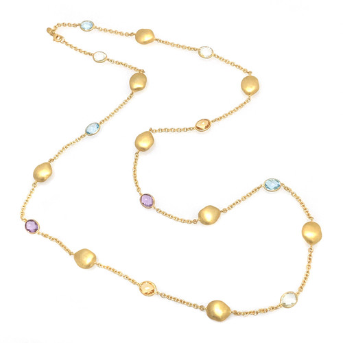 Nugget and Oval Multicolor Gemstone Long Station Necklace