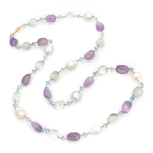 Tumbled Amethyst, Green Amethyst, and Baroque Pearl, with Blue Topaz Roundel Long Necklace