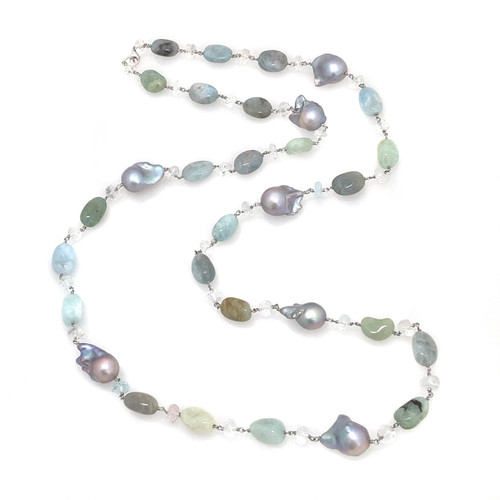 Tumbled Aquamarine and Grey Baroque Pearl, with Aquamarine Roundel Long Necklace