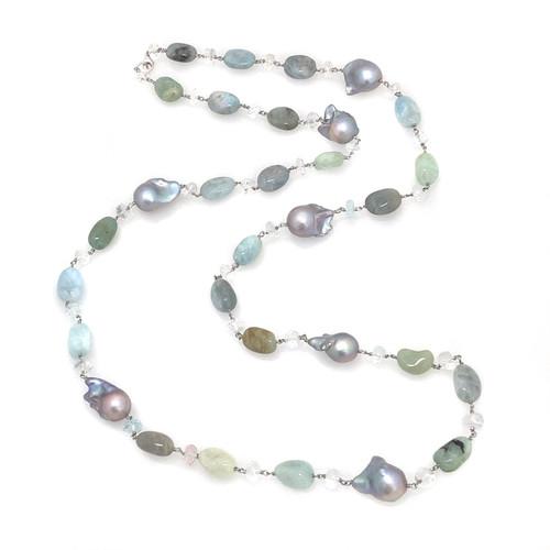 Tumbled Aquamarine and Grey Baroque Pearl, with Aquamarine Roundel Long Necklace