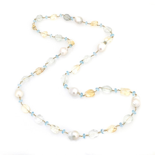 Tumbled Citrine, Green Amethyst, and Baroque Pearl, with Blue Topaz Roundel Long Necklace