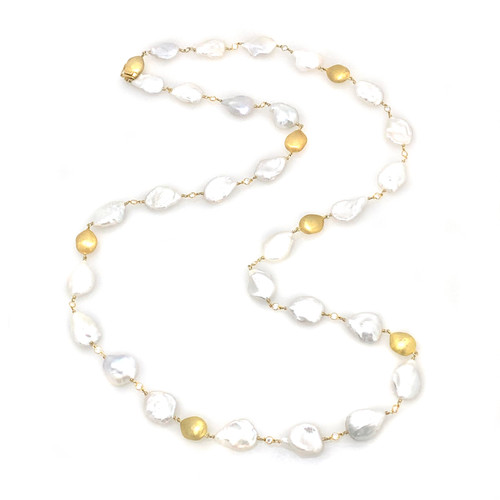 Keishi Pearl and Silver Nugget Long Vermeil Necklace