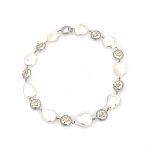 Large Keishi Pearl and Round Flower CZ Disc Sterling Silver Necklace