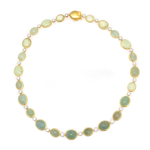 Oval Cabochon Beryl Necklace