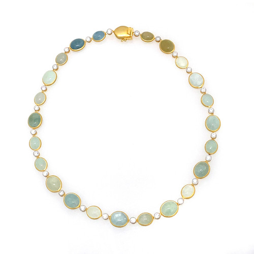 Oval Cabochon Aquamarine and Beryl Necklace