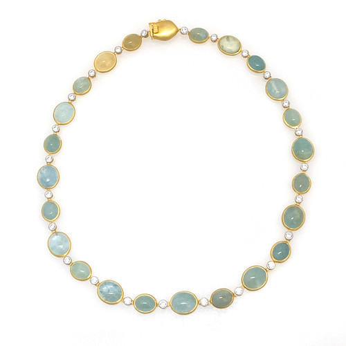Oval Cabochon Aquamarine Necklace