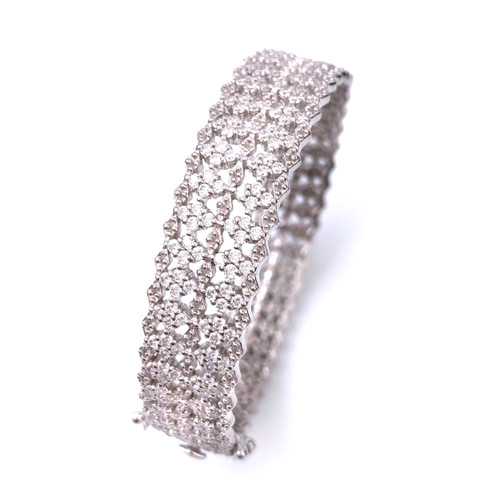 Diamond-pattern Platinum Rhodium Bangle