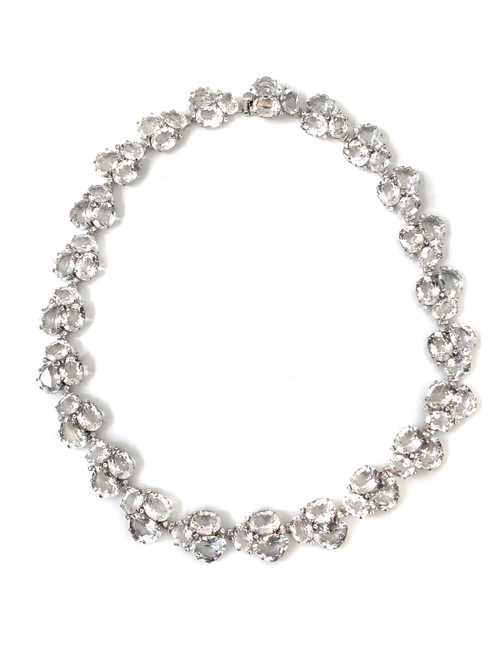 Fancy-cut White Topaz Choker Necklace