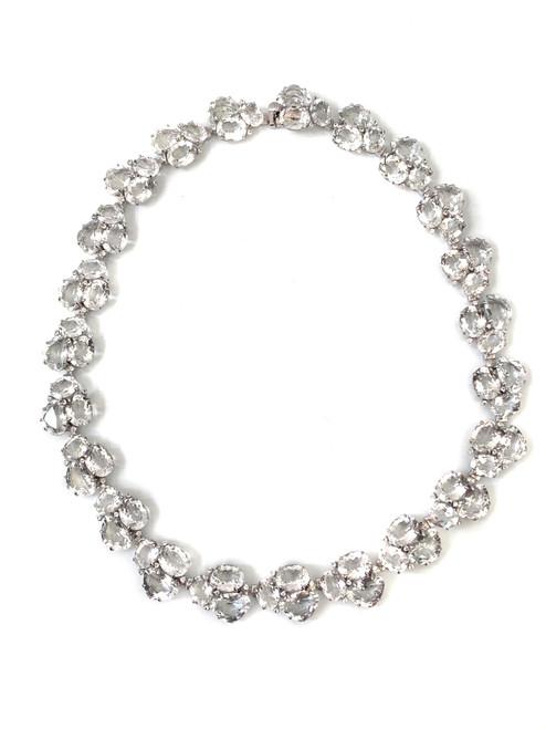 Fancy-cut White Topaz Choker Necklace