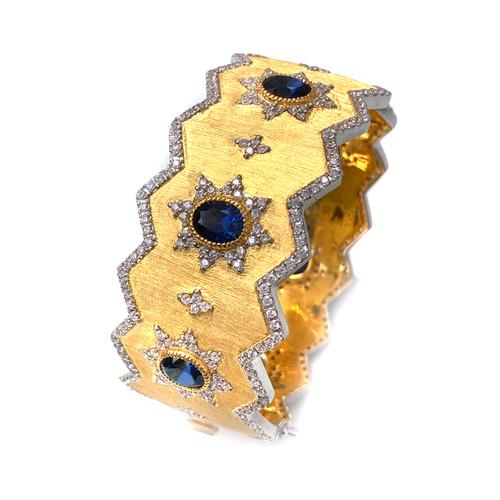 Engraved Oval Lab Sapphire Wide Jagged Bangle Bracelet