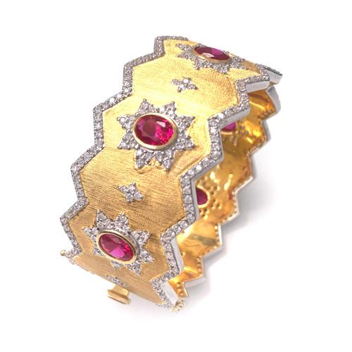 Engraved Oval Lab Ruby Wide Jagged Bangle Bracelet