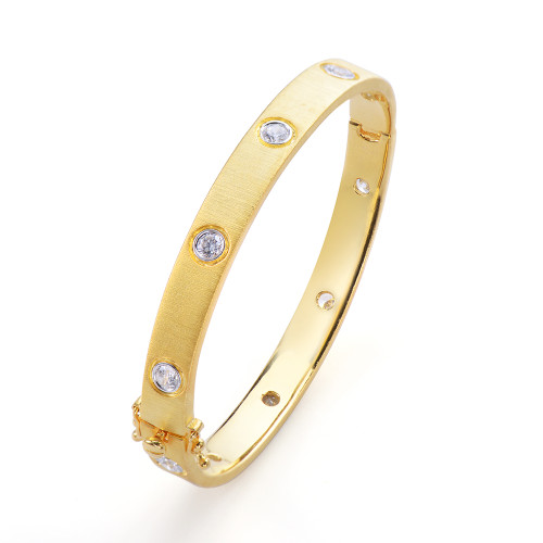 Skinny Engraved Bazel-set CZ Vermeil Bangle