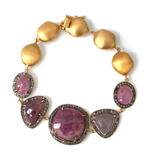Fancy-cut Natural Ruby and Raw Diamond Bracelet
