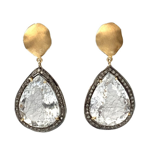 Pear Shape Rutilated Quartz and Raw Diamond Drop Earrings