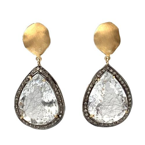 Pear Shape Rutilated Quartz and Raw Diamond Drop Earrings