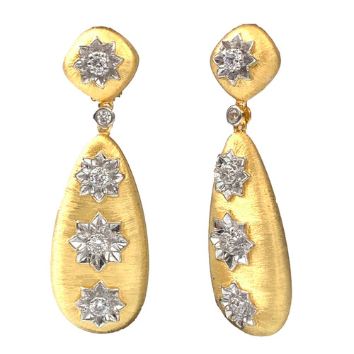 Large Engraved Flower Tear Drop Dangle Vermeil Earrings