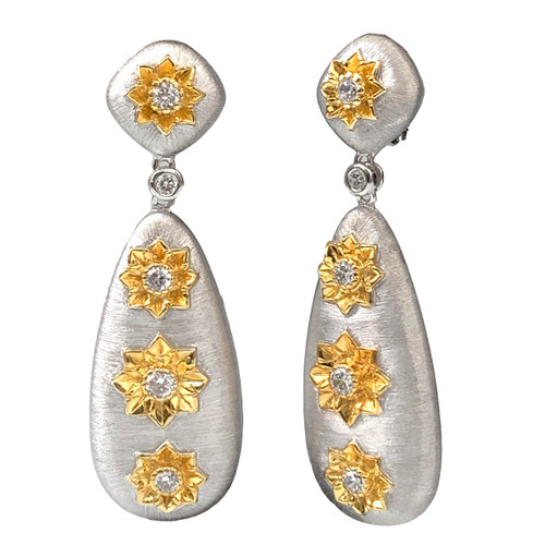 Large Engraved Flower Tear Drop Dangle Two-tone Earrings
