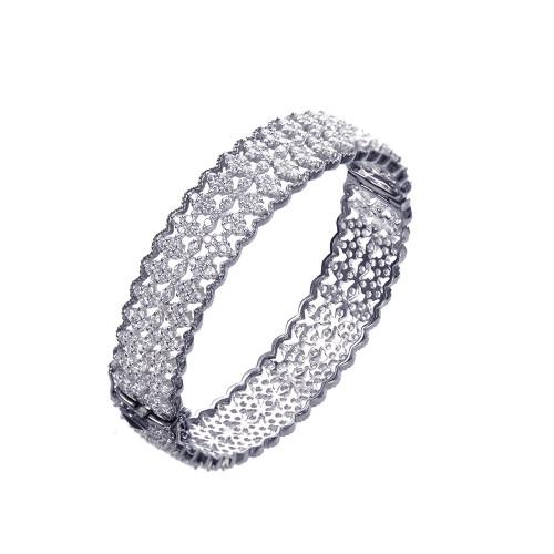 Diamond-pattern CZ Two-tone Black-rhodium Bangle