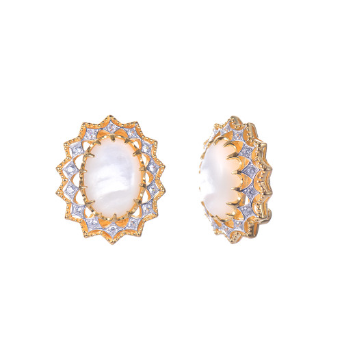 Oval Mother of Pearl Starburst Button Clip-on Earrings