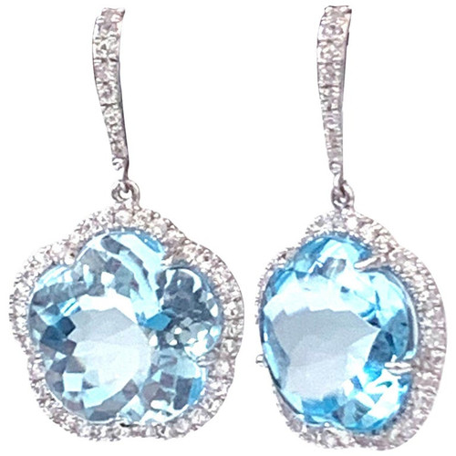 Flower Blue Topaz and White Sapphire Earrings