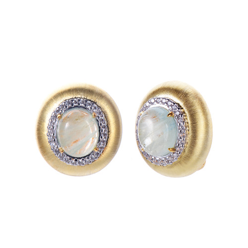 Engraved Oval Aquamarine Clip-on Button Vermeil Earrings